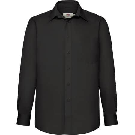 Men`s Long Sleeve Poplin Shirt in Black von Fruit of the Loom (Artnum: F602