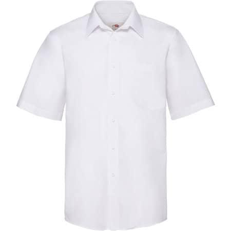 Men`s Short Sleeve Poplin Shirt in White von Fruit of the Loom (Artnum: F603