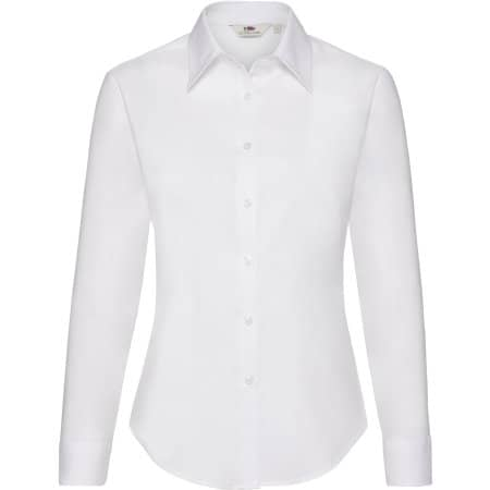 Long Sleeve Oxford Shirt Lady-Fit in White von Fruit of the Loom (Artnum: F700