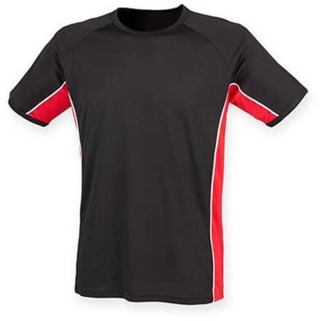 Performance Panel T-Shirt in Black|Red|White von Finden+Hales (Artnum: FH240