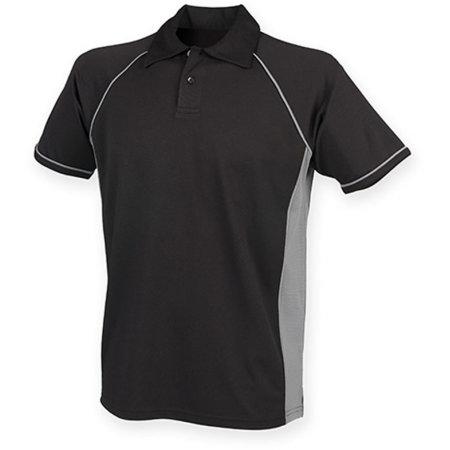 Men`s Piped Performance Polo in Black|Gunmetal Grey|Gunmetal Grey von Finden+Hales (Artnum: FH370