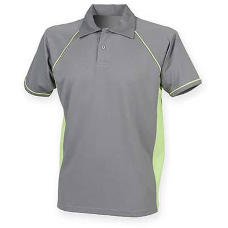 Men`s Piped Performance Polo in Gunmetal Grey|Lime|Lime von Finden+Hales (Artnum: FH370