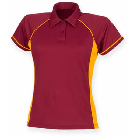 Ladies` Piped Performance Polo in Maroon|Amber|Amber von Finden+Hales (Artnum: FH371
