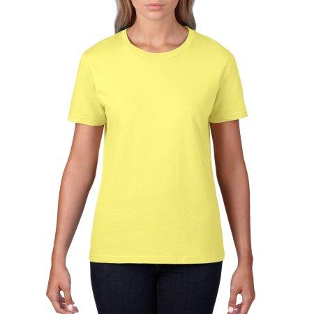 Premium Cotton® Ladies` T-Shirt in Cornsilk von Gildan (Artnum: G4100L