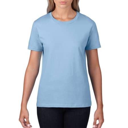 Premium Cotton® Ladies` T-Shirt in Light Blue von Gildan (Artnum: G4100L
