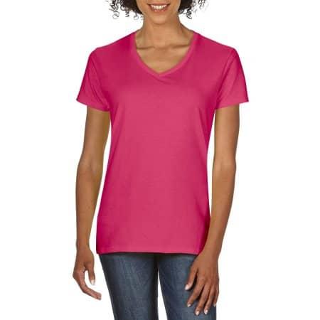 Premium Cotton® Ladies` V-Neck T-Shirt in Azalea von Gildan (Artnum: G4100VL
