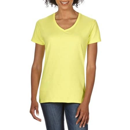 Premium Cotton® Ladies` V-Neck T-Shirt in Cornsilk von Gildan (Artnum: G4100VL
