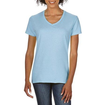 Premium Cotton® Ladies` V-Neck T-Shirt in Light Blue von Gildan (Artnum: G4100VL