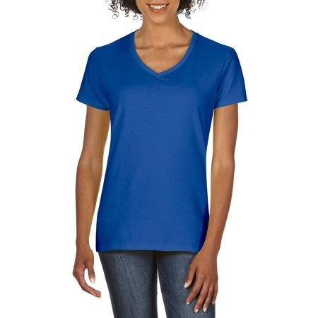 Premium Cotton® Ladies` V-Neck T-Shirt in Royal von Gildan (Artnum: G4100VL