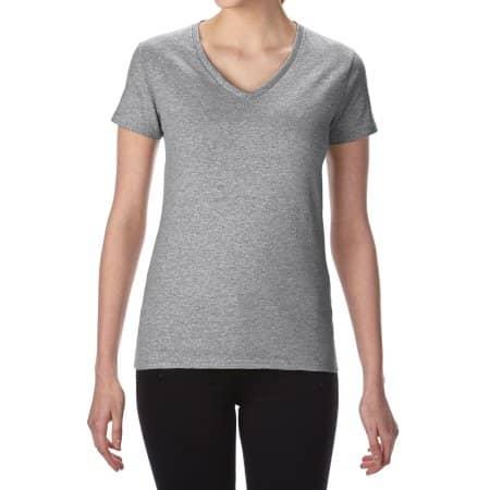 Premium Cotton® Ladies` V-Neck T-Shirt in Sport Grey (Heather) von Gildan (Artnum: G4100VL