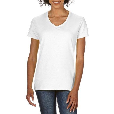 Premium Cotton® Ladies` V-Neck T-Shirt in White von Gildan (Artnum: G4100VL