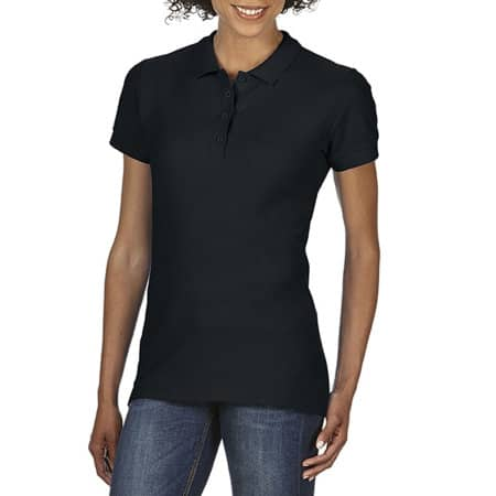 Gildan Softstyle® Ladies` Double Piqué Polo in Black von Gildan (Artnum: G64800L