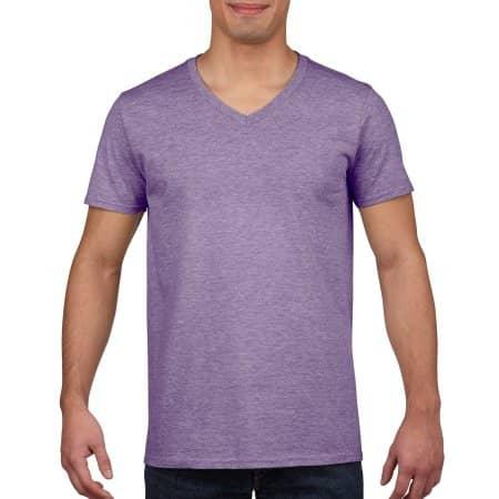 Softstyle® V-Neck T-Shirt in Heather Purple von Gildan (Artnum: G64V00