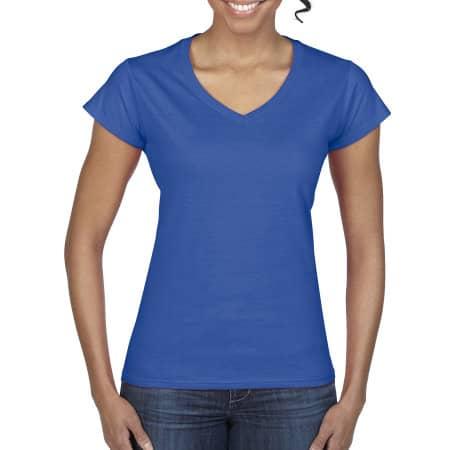 Softstyle® Ladies` V-Neck T-Shirt in Royal von Gildan (Artnum: G64V00L