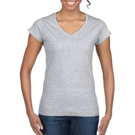 Softstyle® Ladies` V-Neck T-Shirt in Sport Grey (Heather) von Gildan (Artnum: G64V00L