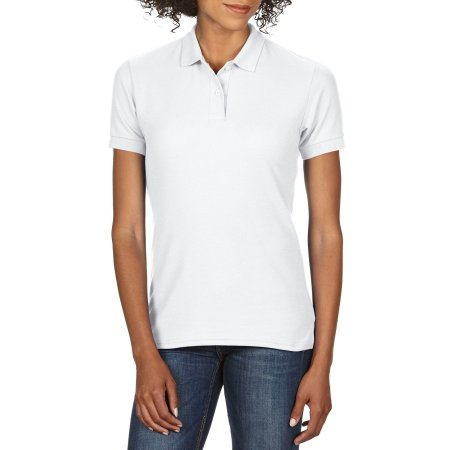DryBlend® Ladies` Double Piqué Polo in White von Gildan (Artnum: G75800L