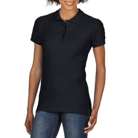Premium Cotton® Ladies` Double Piqué Polo in Black von Gildan (Artnum: G85800L