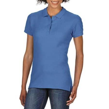 Premium Cotton® Ladies` Double Piqué Polo in Flo Blue von Gildan (Artnum: G85800L