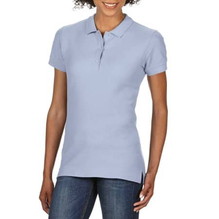 Premium Cotton® Ladies` Double Piqué Polo in Light Blue von Gildan (Artnum: G85800L