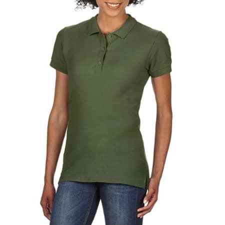 Premium Cotton® Ladies` Double Piqué Polo in Military Green von Gildan (Artnum: G85800L