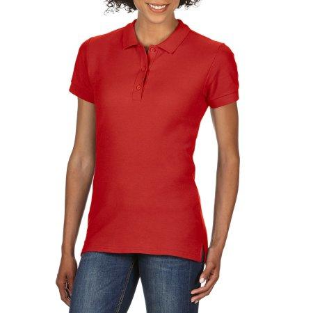 Premium Cotton® Ladies` Double Piqué Polo in Red von Gildan (Artnum: G85800L