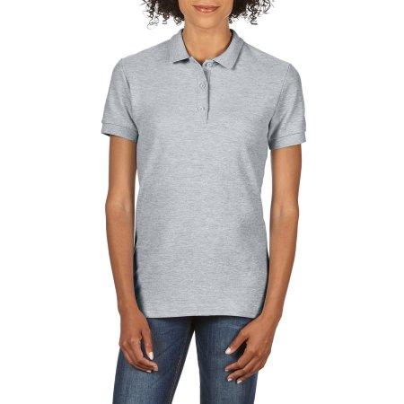 Premium Cotton® Ladies` Double Piqué Polo in Sport Grey (Heather) von Gildan (Artnum: G85800L