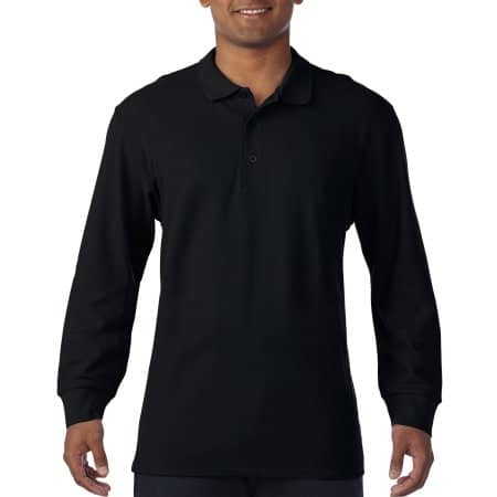 Premium Cotton® Long Sleeve Double Piqué Polo in Black von Gildan (Artnum: G85900