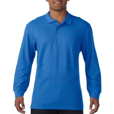 Premium Cotton® Long Sleeve Double Piqué Polo in Royal von Gildan (Artnum: G85900
