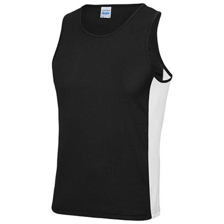 Men`s Cool Contrast Vest in Jet Black Arctic White von Just Cool (Artnum: JC008