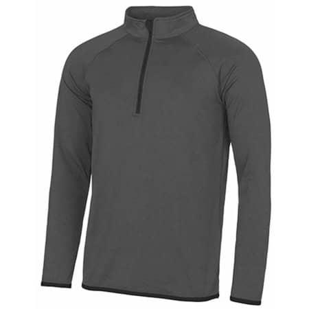 Men`s Cool 1/2 Zip Sweat in Charcoal (Solid)|Jet Black von Just Cool (Artnum: JC031