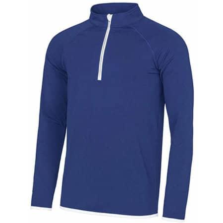 Men`s Cool 1/2 Zip Sweat in Royal Blue|Arctic White von Just Cool (Artnum: JC031