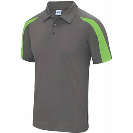 Contrast Cool Polo in Charcoal (Solid)|Lime Green von Just Cool (Artnum: JC043