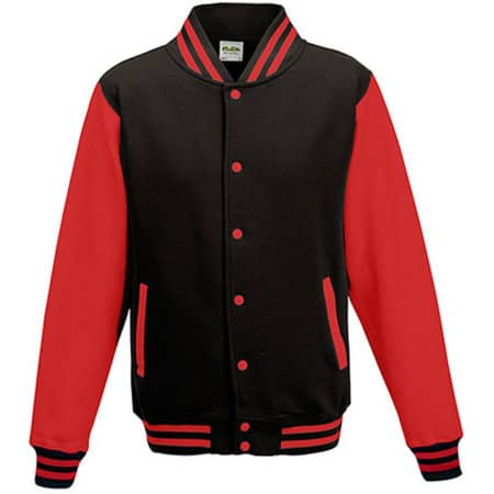 Varsity Jacket in Jet Black|Fire Red von Just Hoods (Artnum: JH043