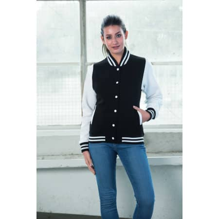 Girlie Varsity Jacket von Just Hoods (Artnum: JH043F