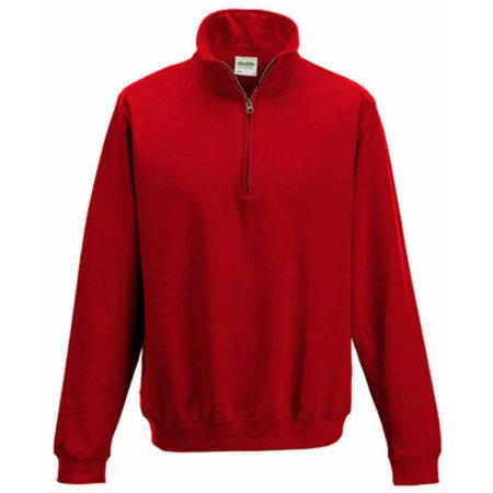 Sophomore 1/4 Zip Sweat in Fire Red von Just Hoods (Artnum: JH046