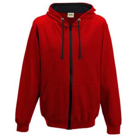 Varsity Zoodie in Fire Red|Jet Black von Just Hoods (Artnum: JH053