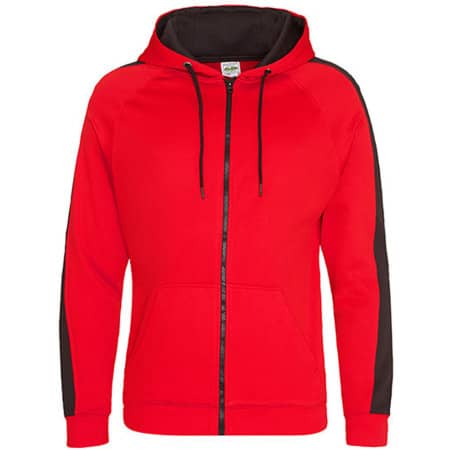 Sports Polyester Zoodie in Fire Red|Jet Black von Just Hoods (Artnum: JH066