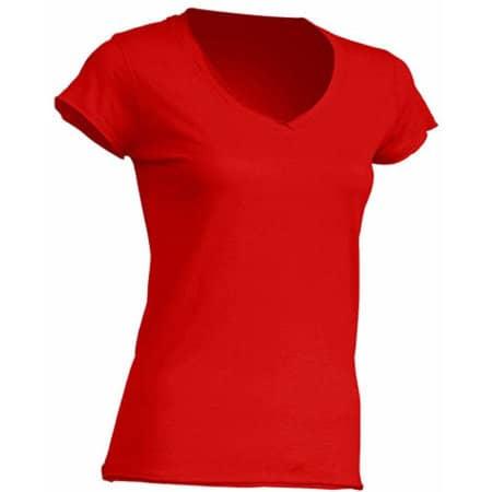 Ladies` V-Neck Sicilia in Red von JHK (Artnum: JHK271