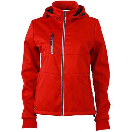 Ladies` Maritime Softshell-Jacket in Red|Navy|White von James+Nicholson (Artnum: JN1077
