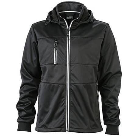 Men`s Maritime Softshell-Jacket in Black|Black|White von James+Nicholson (Artnum: JN1078
