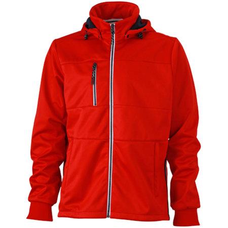 Men`s Maritime Softshell-Jacket in Red|Navy|White von James+Nicholson (Artnum: JN1078