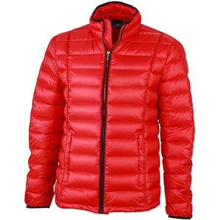 Men`s Quilted Down Jacket in Red Black von James+Nicholson (Artnum: JN1082