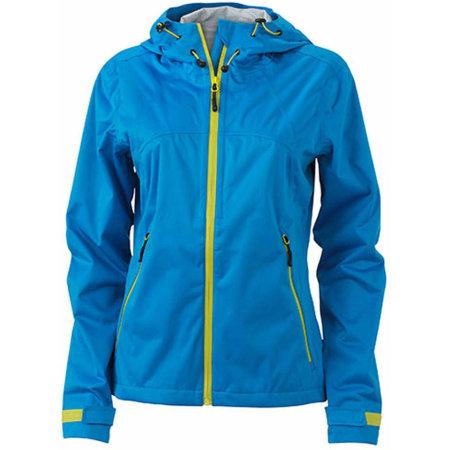 Ladies` Outdoor Jacket in Aqua|Acid Yellow von James+Nicholson (Artnum: JN1097