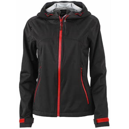 Ladies` Outdoor Jacket in Black Red von James+Nicholson (Artnum: JN1097