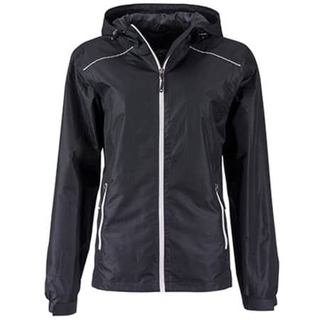 Ladies` Rain Jacket in Black|Silver (Solid) von James+Nicholson (Artnum: JN1117