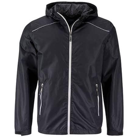 Men`s` Rain Jacket in Black|Silver (Solid) von James+Nicholson (Artnum: JN1118