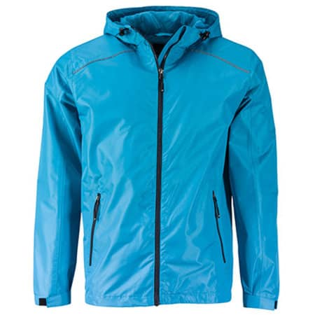 Men`s` Rain Jacket in Turquoise|Iron Grey von James+Nicholson (Artnum: JN1118