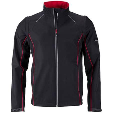 Men`s Zip-Off Softshell Jacket in Black Red von James+Nicholson (Artnum: JN1122