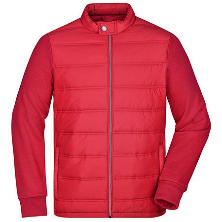 Men`s Hybrid Sweat Jacket in Light Red von James+Nicholson (Artnum: JN1124