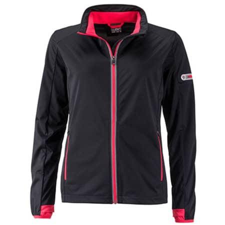 Ladies` Sports Softshell Jacket in Black|Light Red von James+Nicholson (Artnum: JN1125